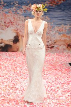 Claire Pettibone – Bridal Fall 2013    TAGS:Embellished, Embroidered, Floor-length, Train, Ivory, Claire Pettibone, Lace, Satin, Silk, Elegant, Romantic