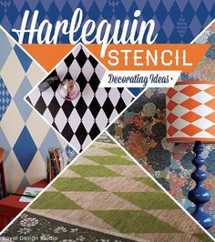 Check out these beautiful, fun, and affordable DIY projects and decorating ideas using trendy harlequin diamond stencils for walls, furniture, floors, and more.