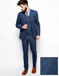 groom Image 1 of ASOS Skinny Fit Suit in Blue Dogstooth