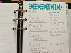 meal planner - Triangles Filofax / Franklin Covey / Planner Printable (free!) via sweatersandstockings