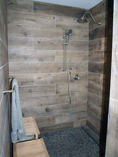 24 Astonishing Bathroom Shower Design Ideas For Simple Bathroom – A walk-in shower creates a nice roomy feeling for your bathroom remodeling project. Wood Wall Tiles, Simple Bathroom, Rustic Bathroom Shower, Wood Tile Bathroom, Rustic Bathroom, Wood Look Tile Bathroom, Bathrooms Remodel, Bathroom Design, Wood Bathroom