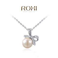ROXI new hot ladies fashion personalized ctystal necklace/ White Gold Best Friend Chain Pearl Pendant Necklaces for women Party/ Wedding Jewelry