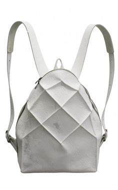 White Geometric Leather Backpack from Kagari Yusuke  | unconventional