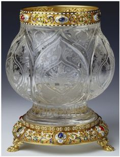 Antique Rock Crystal, Gold, Enamel, Cabochon Ruby, Emerald And Sapphire Vase Made By Michael Perchin For Faberge And Inscribed And Presented In 1911   c.1896-1903  -  The Royal Collection