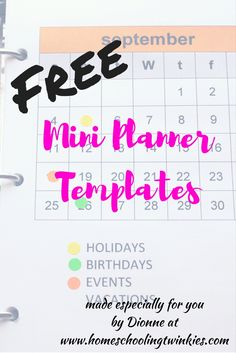 Free customizable mini planner templates. Included are various planner covers with year-at-a-glance, monthly covers, bookmarks, and daily pages. It can also be used for student planners. Brands used are Avery, Scotch Brand, and Post-It Notes.