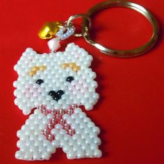 Hey, I found this really awesome Etsy listing at https://www.etsy.com/listing/92376567/westie-terrier-beaded-charm-on-key-ring