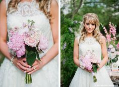 Pink, purple, and white wedding bouquet