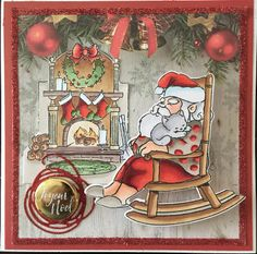 Art Impressions Rubber Stamps: Ai Christmas: 4792 – Dreaming Mini Shaker. Handmade card. Santa in rocking chair.