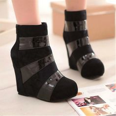 Womens Boots | New Design Black Round Closed Toe Wedge Super High Heel Boots - Hugshoes.com