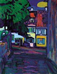 Wassily Kandinsky Murnau, casas en el Obermarkt 1908 Óleo sobre cartón