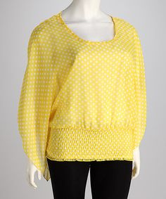 Take a look at this Yummy Yellow Sheer Polka Dot Plus-Size Smocked Top by Yummy on #zulily today!