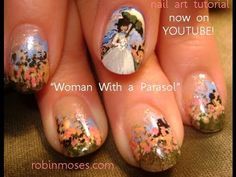 #nails #nailart #nail #design #tutorial #monet #parasol #umbrella #howto #diy #summer #spring #ladywithaparasol #monet #lady #girl