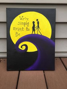 Items similar to We're Simply Meant to Be, Jack and Sally, quote painted on canvas on Etsy Halloween Canvas Paintings, Small Canvas Paintings, Easy Canvas Art, Canvas Painting Tutorials, Small Canvas Art, Cute Paintings, Easy Canvas Painting, Mini Canvas Art, Trippy Painting