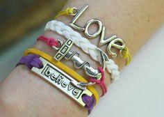 Antique Silver Bracelet, Anchor Bracelet, Love Bracelet