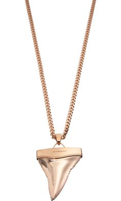 Givenchy Pink Gold Shark's Tooth Pendant Necklace. If we evacuate this goes first.