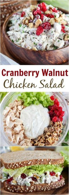 Cranberry Walnut Chicken Salad - Easy chicken salad recipe filled with tender chicken dried cranberries walnuts apples celery dill and parsley chickensalad sandwich healthyrecipes lunch easyrecipes Lunch Snacks, Healthy Snacks, Healthy Eating, Healthy Recipes, Lunches, Sweets Recipes, Diet Recipes, Lunch Recipes, Breakfast Recipes