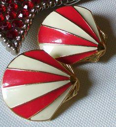 Retro Enamel Shell Earrings  Fourth Of July by NativeGirl65, $20.00