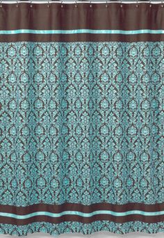 JOJO DESIGNS BELLA BLUE TURQUOISE BROWN DAMASK GIRL TEEN SHOWER CURTAIN