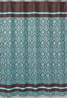brown and beige shower curtain. JOJO DESIGNS BELLA BLUE TURQUOISE BROWN DAMASK GIRL TEEN SHOWER CURTAIN Amazon com  Turquoise and Brown Bella Kids Bathroom Fabric Bath