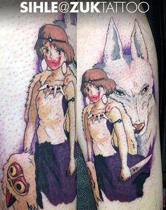 Tatuaje a color con la princesa Mononoke.