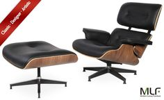 Amazon.com - MLF® Eames Lounge Chair & Ottoman (5 Colors). High-elastic Soft Foam Cushions, Great Resilience & Never Lose Elasticity. Dark Brown Aniline Leather, 7-ply Natural Oak Veneer. Cast Aluminum 5 Star Swiveling Base. -