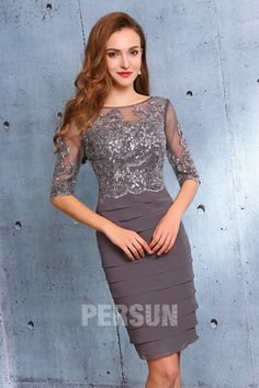 Short sleeved Grey Cocktail Dress with sequined lace bodice for Mother of the Bride - Persun. Gray Cocktail Dress, Cocktail Dresses With Sleeves, Cheap Cocktail Dresses, Mother Of Groom Dresses, Mother Of The Bride, Formal Wear Women, Nice Dresses, Formal Dresses, Red Chiffon