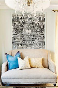 Ideas para combinar molduras decorativas y papel pintado - https://decoracion2.com/molduras-decorativas-y-papel-pintado/ #Decorar_Las_Paredes, #Molduras_Decorativas, #Papel_Pintado