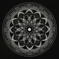 Consciousness Mandala.With 12 Points and 12 rings in each point this Sacred Geometry Mandala has a foundation of 144 rings. The division into 3 sections represents the symbolism of the trinity, strength and equilibrium. The 12 represents, complex stability, 12 houses, 12 disciples, 12 tribes, etc. The 144 represents a fractal of the number of children in the house of the rising Sun, of the tribe of light (144,000). The contrast of black and white represents the total polarity from manifest…