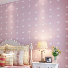 Cheng shuo wallpaper British children room non-woven wallpaper The bedroom wallpaper Small pure and fresh and stars wallpaper
