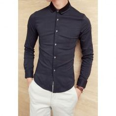 $13.76 Stylish Shirt Collar Color Block Skulls Button Design Long Sleeves Polyester Shirt For Men