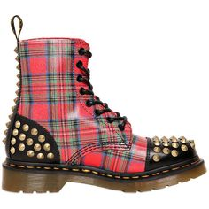 DR.MARTENS 30mm Tartan Printed Calfskin Boots ($150) ❤ liked on Polyvore featuring shoes, boots, ankle booties, dr. martens, tartan, plaid, lace up booties, laced boots, low heel boots and laced booties