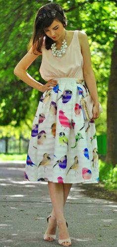 birds print skirt