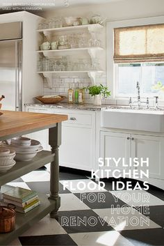 A classic checkerboard pattern underfoot adds an urban, designer-style vibe to this home's cottage kitchen. The black-and-white vinyl tiles add a graphic edge to an otherwise neutral kitchen. Vinyl tiles are affordable and come in a wide range of colors. See more Stylish Kitchen Floor Ideas for Your Home Renovation on our blog at http://bhgrelife.com/stylish-kitchen-floor-ideas-for-your-home-renovation/