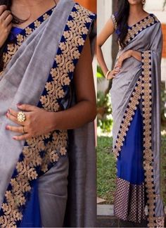 Blue Grey Embroidery Sequins Work Stone Work Silk Georgette Party Wear Sarees…