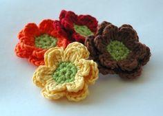 Crochet Applique Flowers - Autumn Fall Flowers. $6.50, via Etsy.