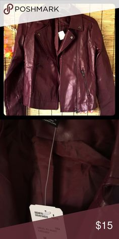 Maroon faux leather jacket Versatile long sleeve faux leather jacket in size Medium from Forever 21. Never worn and tag still on! Forever 21 Jackets & Coats