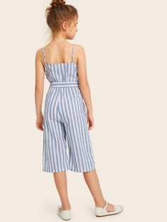 To find out about the Girls Button Front Striped Belted Tank Jumpsuit at SHEIN, part of our latest Girls Jumpsuits ready to shop online today! Baby Girl Dress Patterns, Baby Dress, Little Girl Dresses, Girls Dresses, Kids Outfits, Cute Outfits, Jumpsuits For Girls, Floral Jumpsuit, Kids Fashion