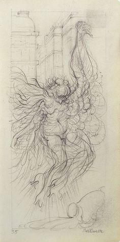 """amare-habeo: """" Hans Bellmer (German, Study for the """"Angel of sensuousness"""", 1955 Pencil on paper, x cm """" Angel Drawing, Themes Themes, Spooky Scary, Black Pencil, Mural Painting, Cool Drawings, Illusions, Modern Art, Vintage World Maps"""