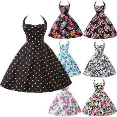 Floral Vintage Rockabilly 50's 60's Housewife Pinup Swing Jive Prom Dress s XL   eBay