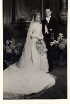 Princess Elisabeth of Luxembourg and her husband Franz, Duke of Hohenberg, on their wedding day, 9 May 1956. The couple was married in Luxembourg.