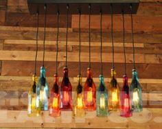 Reciclado araña de botella el Marqués claro por MoonshineLamp