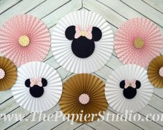 Minnie Mouse Inspired Gold and Pink Bows Paper by GreatCrafternoon