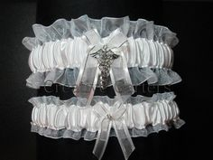 Physician Wedding Garter Set - Traditional Garters - Personalized Gart – Creative Garters