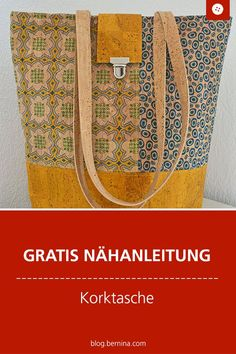 Sew cork bag: sewing instructions with video for a city shopper made of cork- Free sewing instructions: sew cork bag with sewing video # Nähanleitung # Near makes you happy Tote Handbags, Purses And Handbags, Fashion Handbags, Leather Handbags, Free Sewing, Hand Sewing, Bauhaus Style, Bag Women, Diy Bags Purses