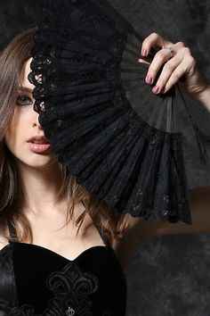 Victorian Gothic Black Lace Royal Fan by Dark in Love.