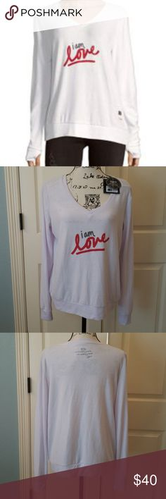 Peace Love World Vneck Comfy I Am Love Top Super soft and comfy! Vneck, knit top with affirmation.  Color is white but has a very pale lavender tint to it.  Great for lounging or just to be comfy.  Brand new.  Not worn.  Retail $88 Peace Love World Tops Sweatshirts & Hoodies