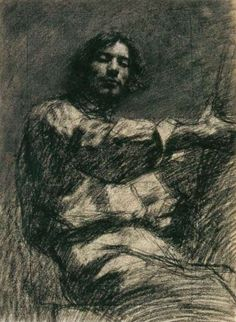 Gustave Courbet (French, 1839-1877),  Seated Young Man, 1847. Black crayon,  45 x 34 cm. Private collection.