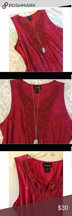 🌺🌸Beautiful Embroidered Tunic🌸🌺 This 100% cotton sleeveless tunic is both beautiful and comfortable.  Detailed embroidery at the neckline and pretty eyelet trim makes this a special top.  A beautiful shade of red and looks great with white and dark blue denim.  Cute for the 4th of July! Lane Bryant Tops Blouses
