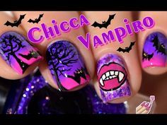 [ Nail Art ] CHICCA VAMPIRO Tutorial nails - Vampire et Chauve-souris //...