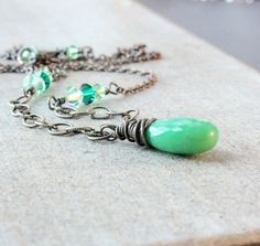 Handmade Chrysoprase Necklace Womens Accessories Green Necklace  by Hildes
